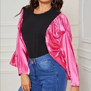 Tops - Pink & Black Exaggerated Batwing Top!